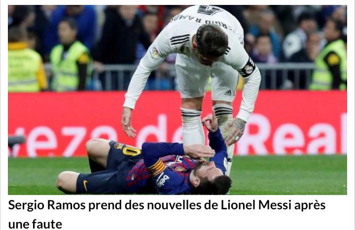 """Clasico Réal - Barca (0-1) / Arrêt sur image : """"Tête à tête"""" musclé entre Ramos et Messi..."""