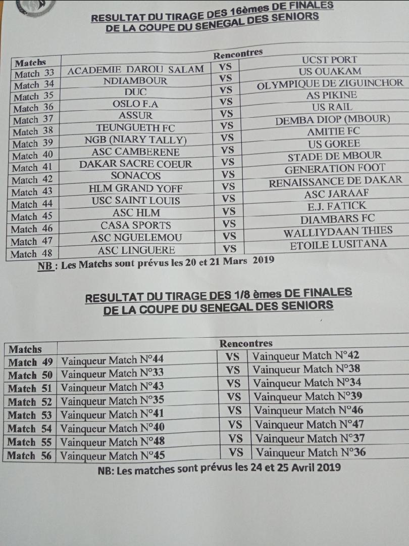 Coupe du Sénégal Tirage 8e de finale / Chocs en perspective : Jaraaf – Génération Foot, DUC – NGB, Casa – DSC pourraient se croiser…