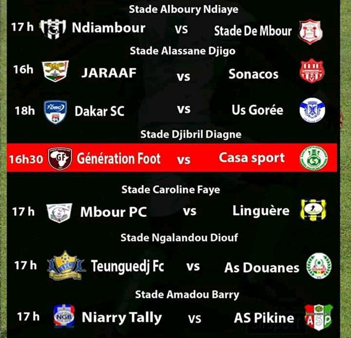 18e journée Ligue 1 : Génération Foot reçoit le Casa Sports, l'As Pikine va à l'assaut de Niary Tally, Teunguedj FC accueille les « Douaniers »