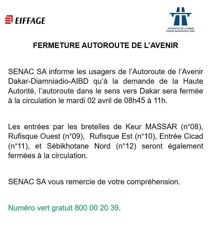 Dommage collatéral de l'investiture de Macky Sall : L'Autoroute à péage fermée dans le sens vers Dakar de 8h à 11h