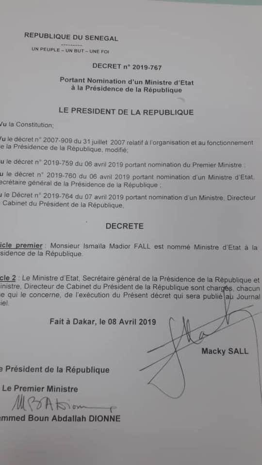 Gouvernement : Ismaila Madior Fall nommé ministre d'Etat à la présidence (DOCUMENT)