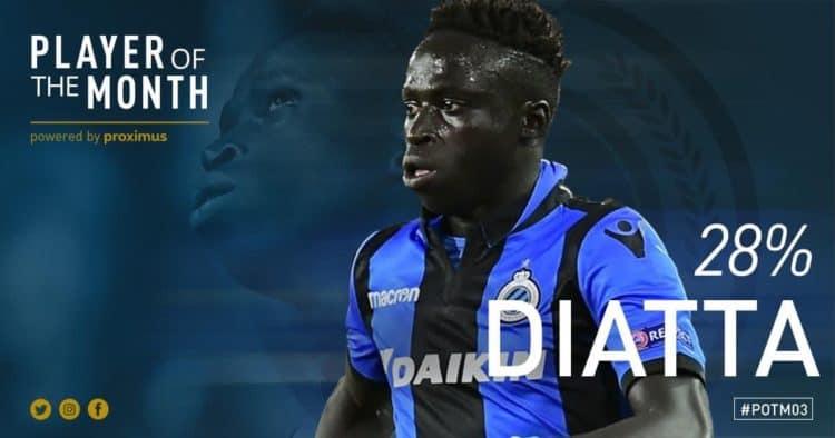 Belgique – FC Bruges / Krepin Diatta désigné joueur du mois de Mars