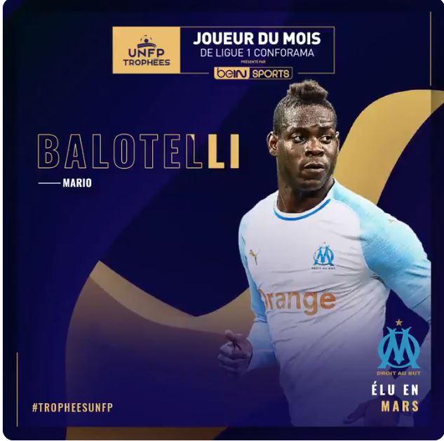 Ligue 1 Trophée UNFP : Mario Balotelli élu joueur du mois de Mars