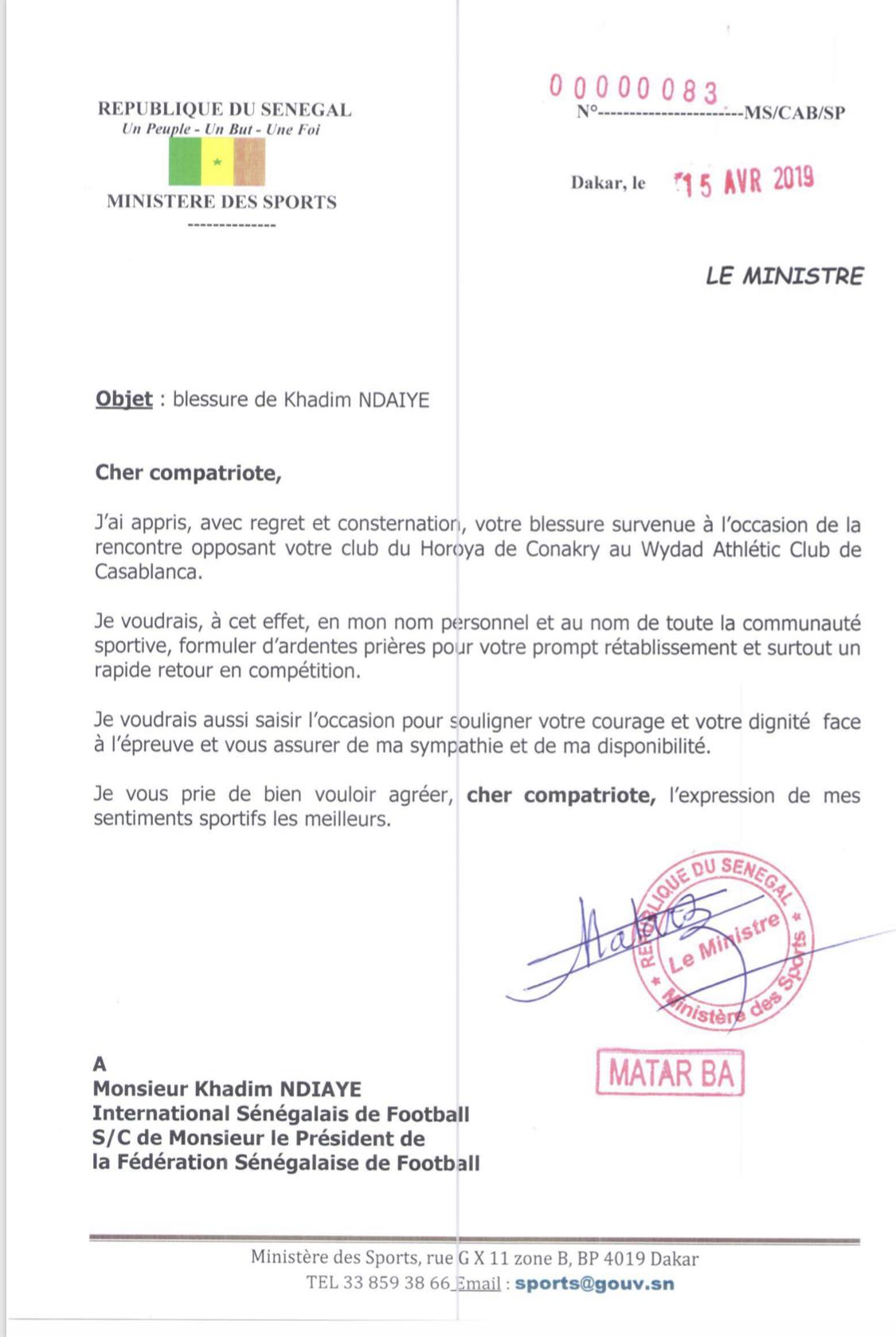 Blessure de Khadim Ndiaye : Le ministre des Sports avait réagi  par le biais d'une lettre datée du 15 avril 2019 (Document)