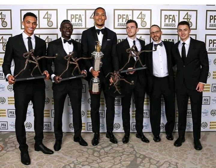 PFA-Awards 2019 : Virgil Van Djik désigné meilleur joueur de la premier League, Sadio Mané dans le onze type repart avec un trophée