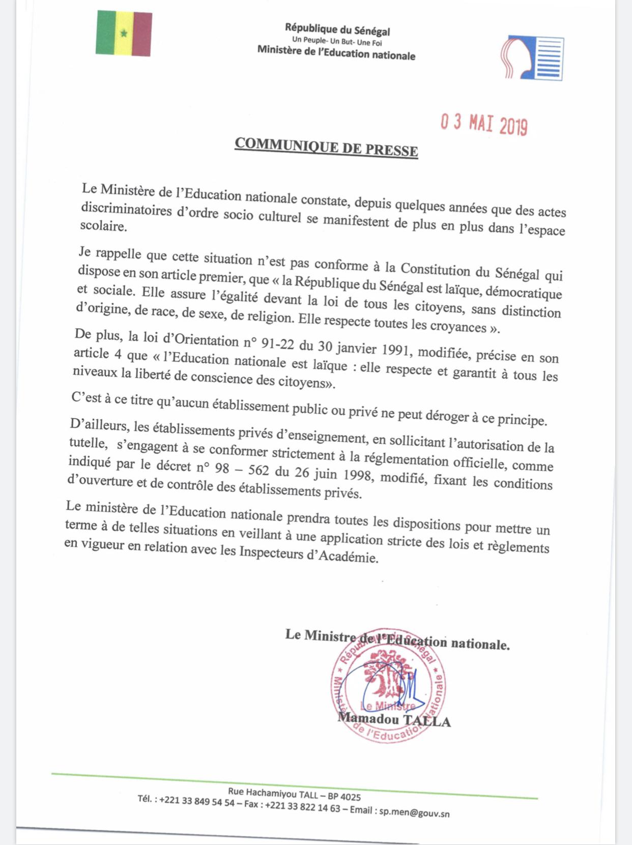 Actes discriminatoires d'ordre socio-culturel dans les écoles : Le Ministère de l'Education nationale menace et précise (DOCUMENT)