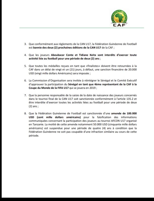 Affaire de fraude des U17 : La CAF reconnaît enfin la Guinée coupable et lui retire ses médailles / Le Sénégal devrait jouer le mondial (Document)