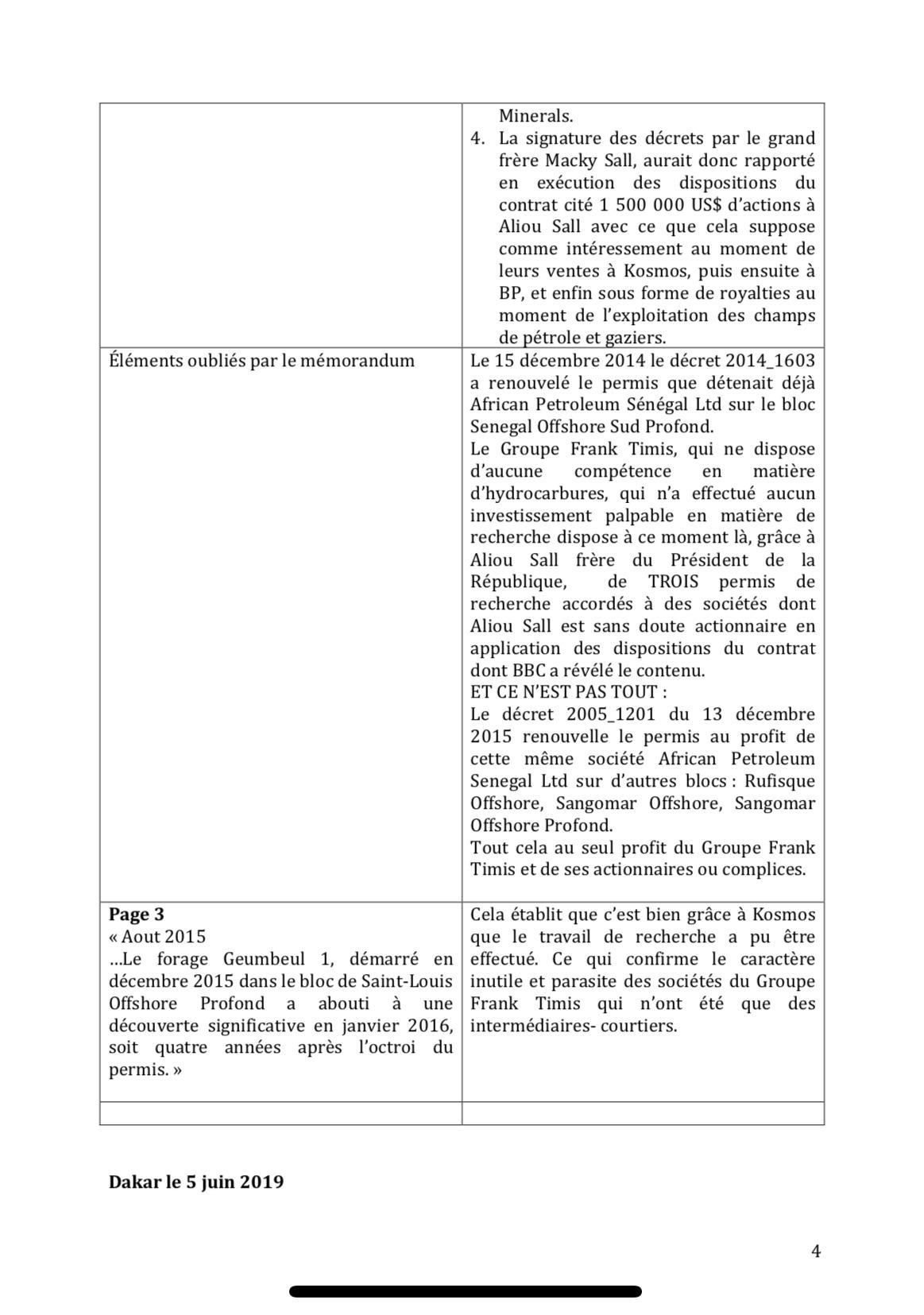 ACT répond : Quelques observations et réponses au mémorandum présenté par le Gouvernement du Sénégal en date du 5 juin 2019 Portant sur le documentaire de la BBC relatif à l'attribution de permis pétroliers et gaziers au Sénégal. (DOCUMENT)