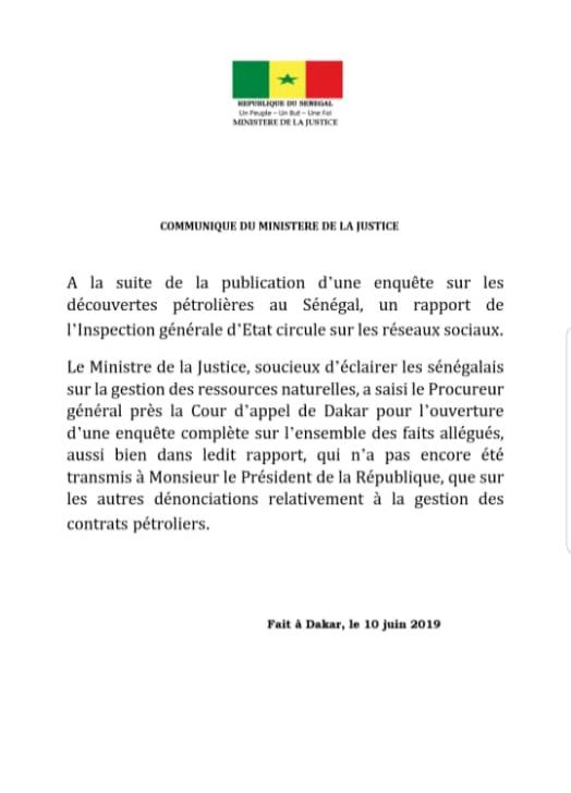 Gestion des contrats pétroliers, rapport de l'IGE : Le Procureur général prend les choses en main. (DOCUMENT)
