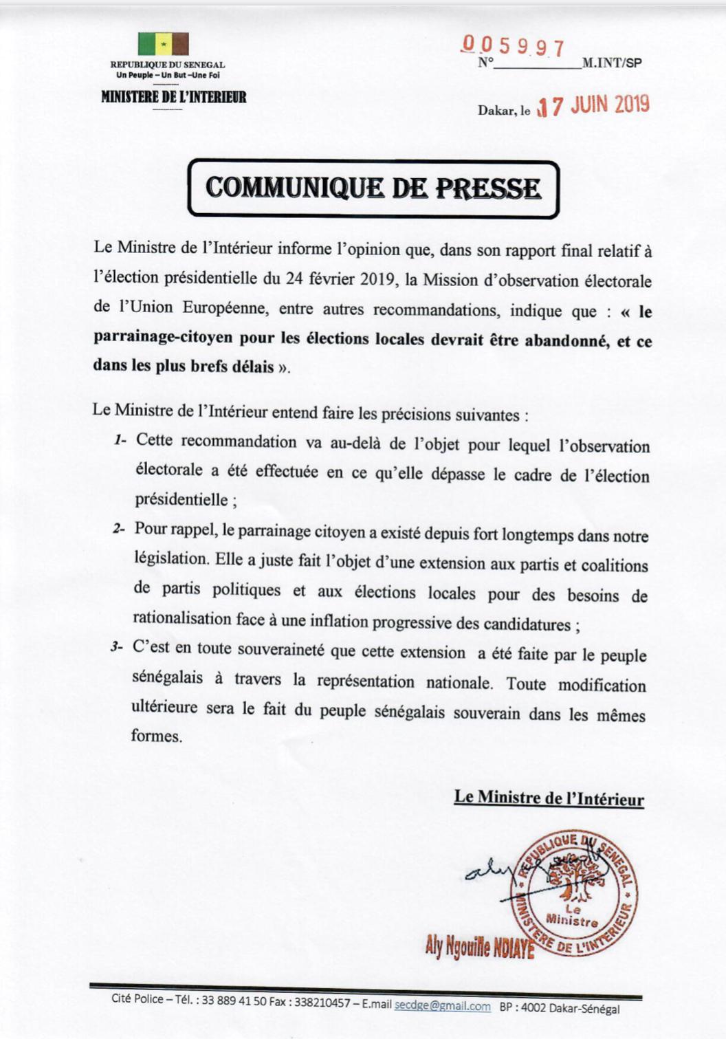 Abandon parrainage citoyen :  «ce sont les sénégalais qui en décideront» ministre de l'Intérieur (DOCUMENT)