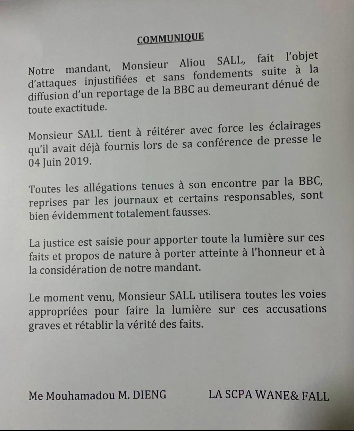 Sortie de El Hadj Hamidou Kassé : Aliou Sall dément et réitère les éclairages de sa conférence de presse (DOCUMENT)