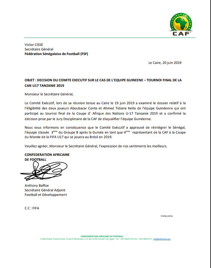 CAN U17 / Fraude sur l'âge : La CAF confirme la sanction contre la Guinée, le Sénégal réintégré parmi les qualifiés au mondial U17 (Document)