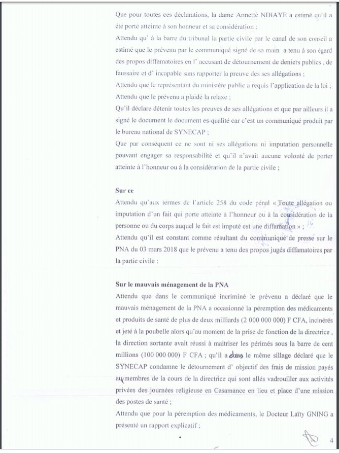 Procès pour diffamation : Matar Dabo reconnu coupable et condamné par le tribunal (Document)