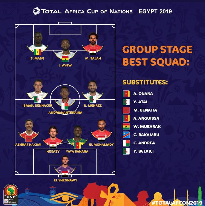 CAN 2019 : Sadio Mané et Salah dans l'équipe type de la phase de groupe