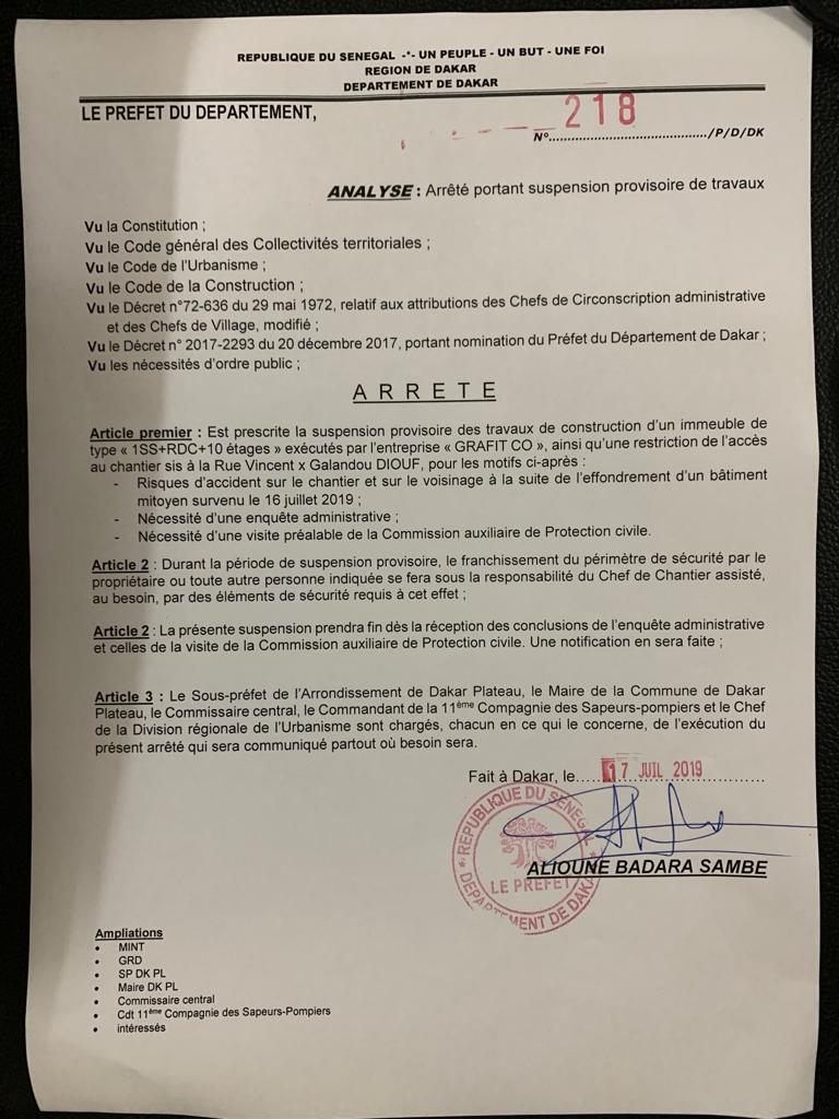 Chute d'un immeuble à la Rue Vincent angle Galandou Diouf : Le Préfet ordonne la suspension des travaux d'un immeuble mitoyen