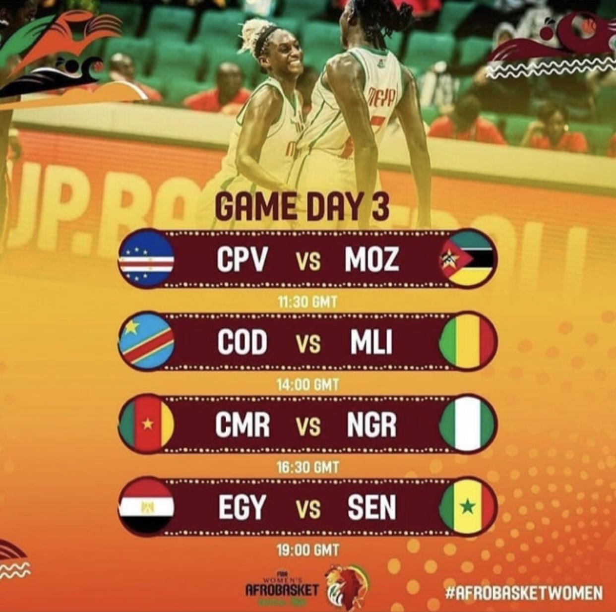Afrobasket féminin / Programme de la 3ème journée : Les Lionnes affrontent l'Égypte pour un ticket en 1/4 de finale, Le Nigeria et le Mali en déplacement périlleux.