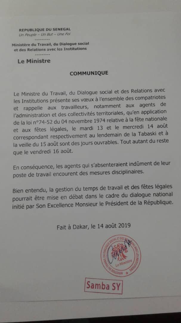 Absentéistes lendemains Tabaski et 15 Août : la mise en garde du ministre du Travail