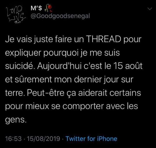 Un tweet suicidaire affole la twittosphère sénégalaise : réelle envie suicidaire ou tentative d'arnaque ?
