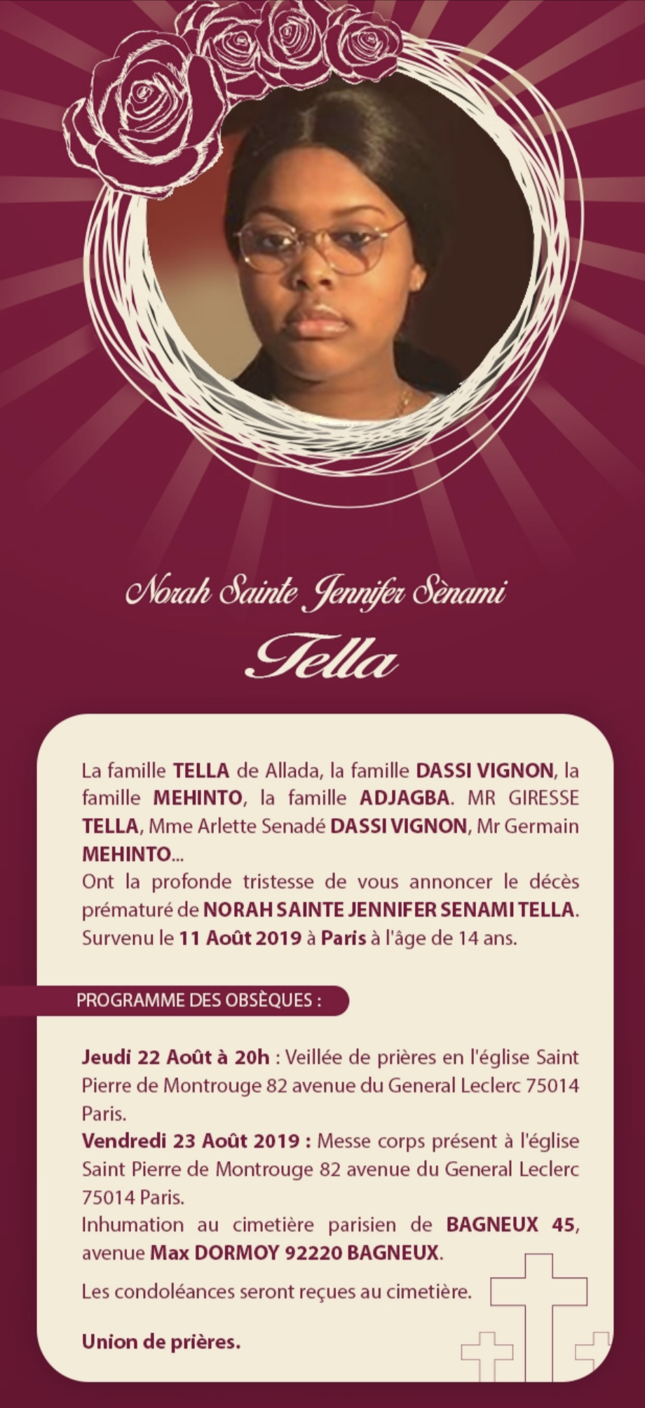 Paris : Le programme des obsèques de Norah Sainte Jennifer Senami Tella.