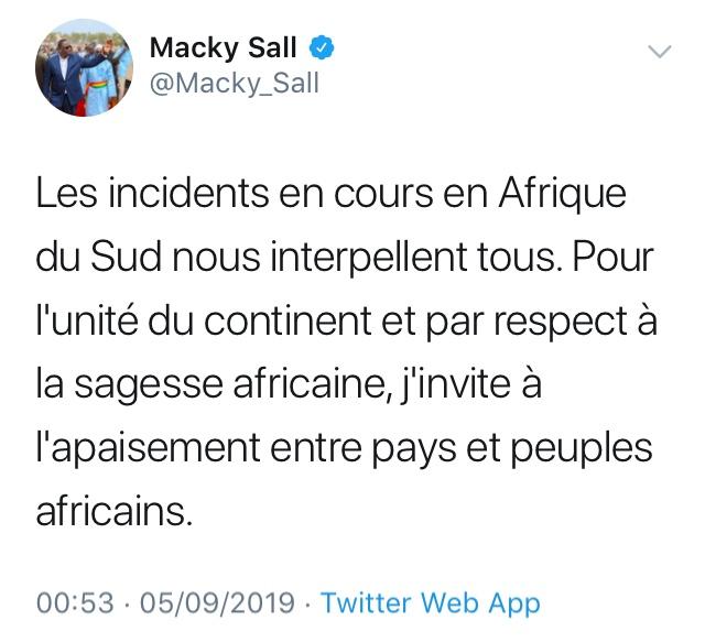 Xénophobie en Afrique du Sud : Macky Sall invite au calme et à la retenue
