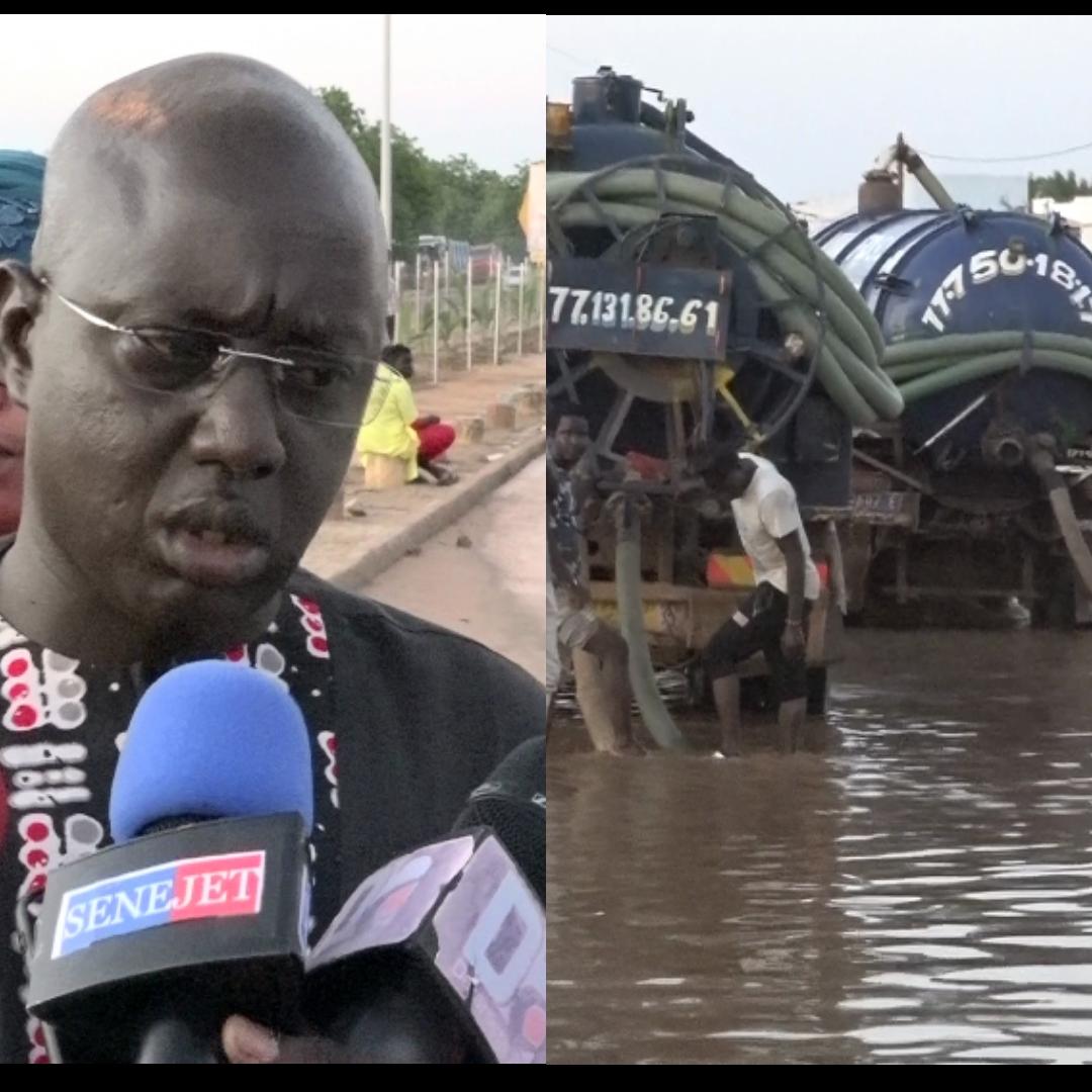 Inondations à Touba / La mairie dégage les eaux pluviales qui coupaient le tronçon Mbacké-Touba à hauteur de l'arrondissement