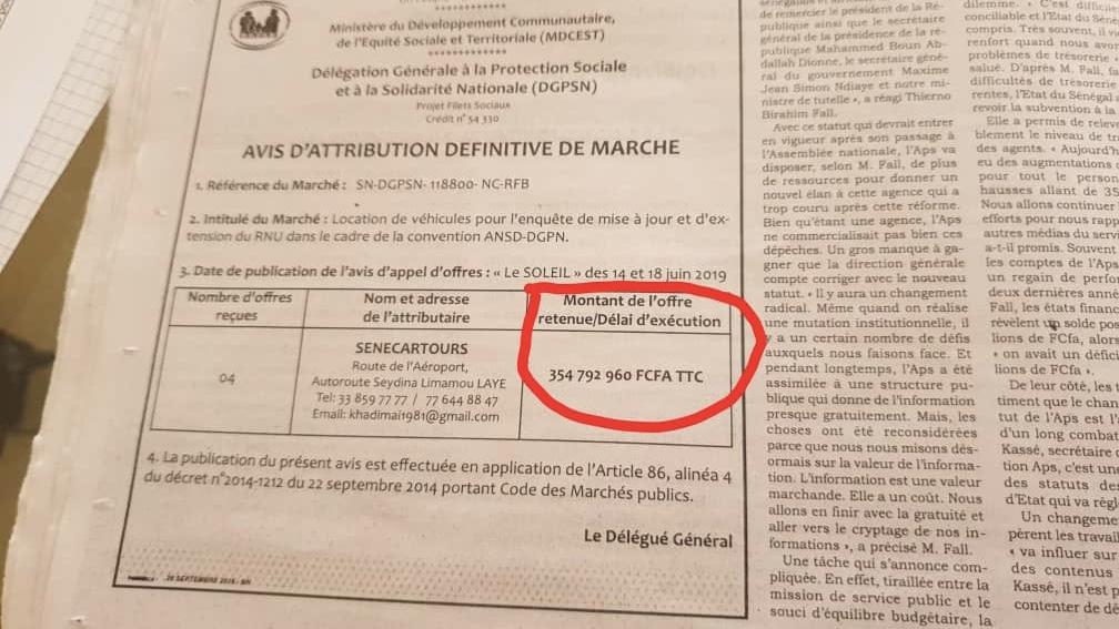 BAMBOULA AU NIVEAU DE LA DÉLÉGATION GÉNÉRALE À LA SOLIDARITÉ NATIONALE : 354,7 millions de Fcfa pour... louer des voitures.