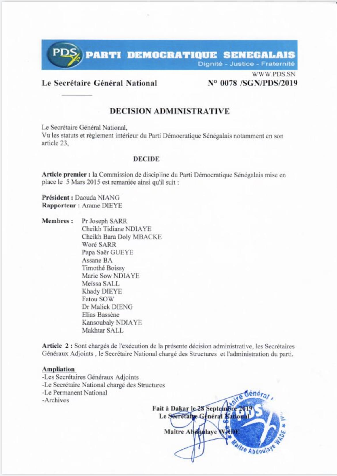 PDS : Wade dissout le conseil de discipline et nomme de nouveaux membres. (DOCUMENT)