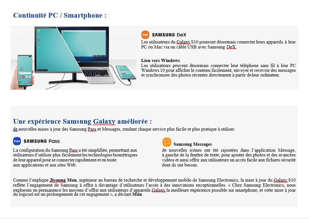 Communiqué de presse Samsung updates (Publireportage)