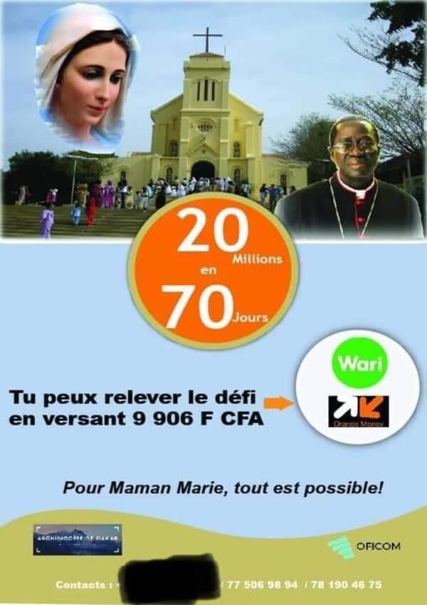 L'archevêque de Dakar cherche 20 millions pour la rénovation de la Basilique mineure Notre Dame de la Délivrance de Popenguine.