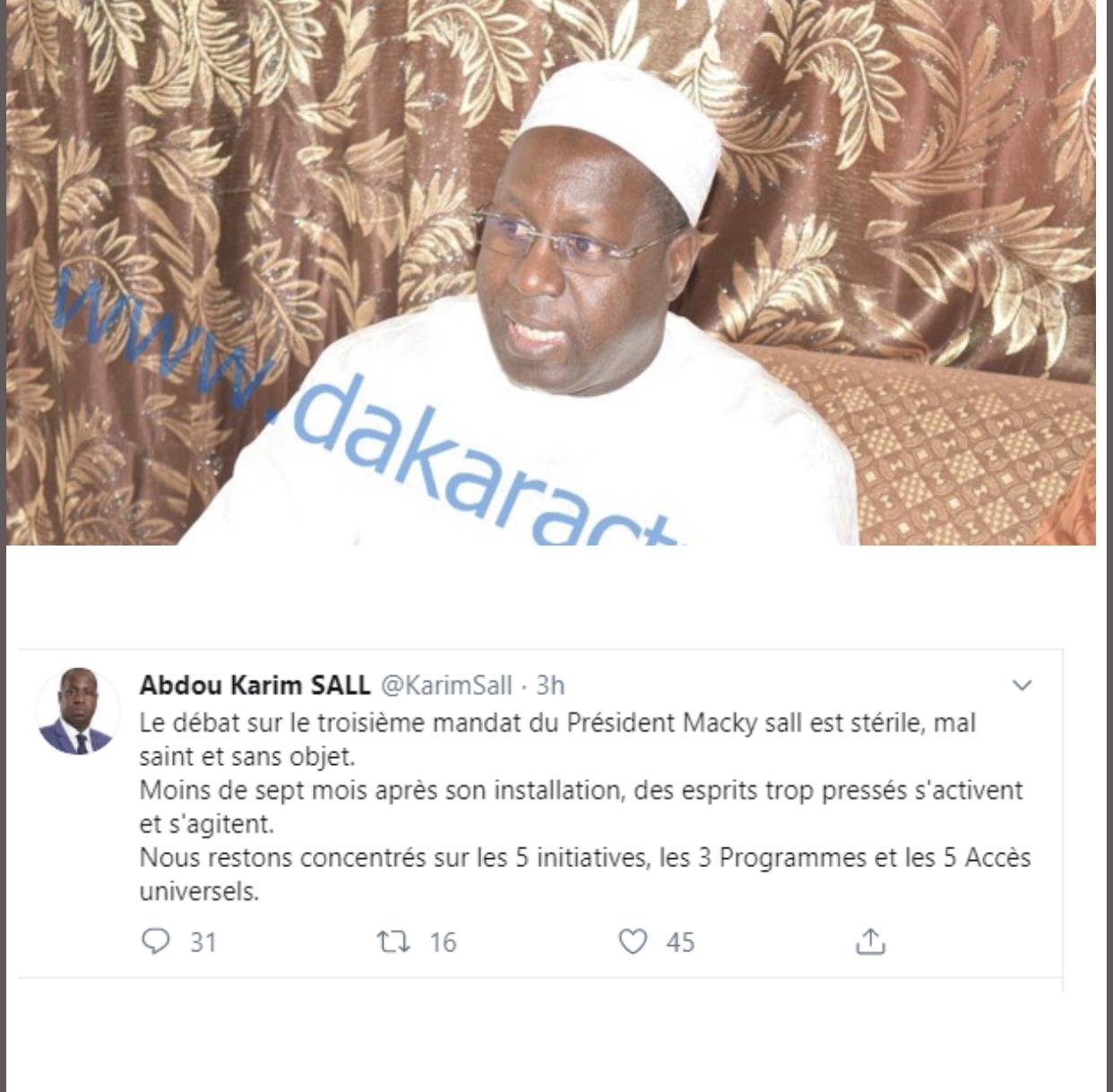 Abdou Karim Sall : ''Le débat sur le troisième mandat du Président Macky Sall est stérile''