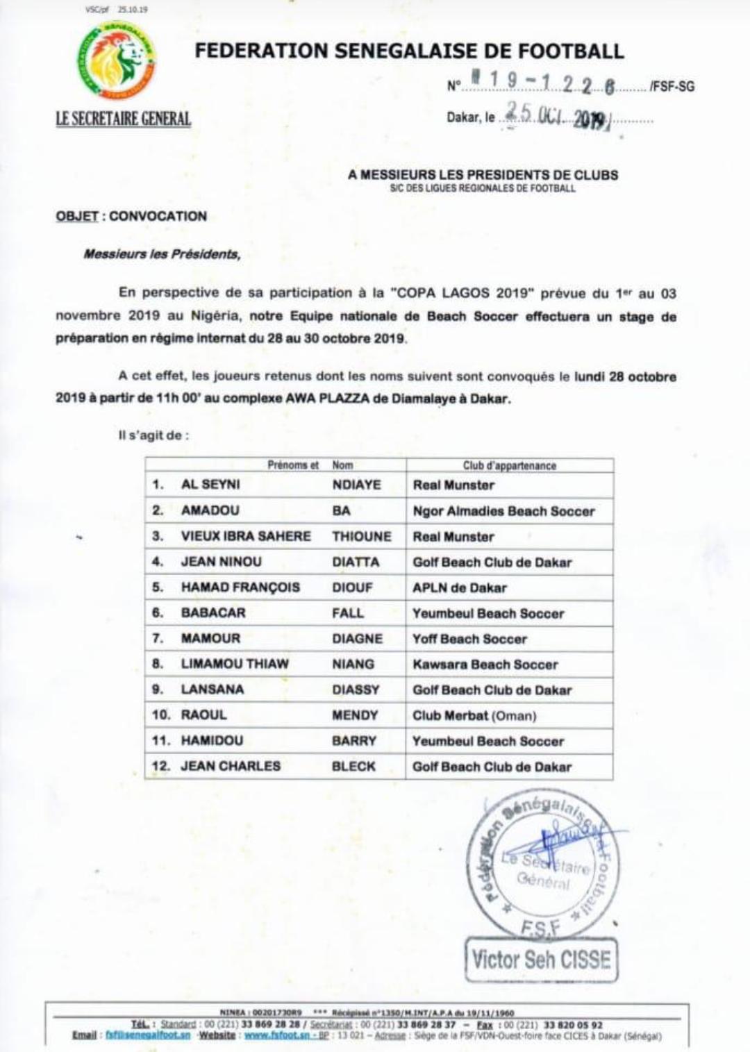 Beach soccer / Copa Lagos 2019 : Ngalla Sylla convoque 12 lions à Diamalaye (document)