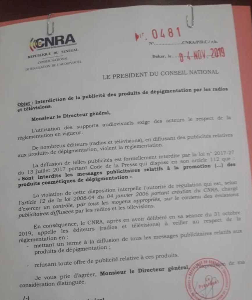 Le CNRA interdit la publicité de produits de depigmentation par les radios et les télévisions. (DOCUMENT)