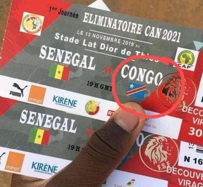 Eliminatoires CAN 2021 / Billetterie : La Fédération Sénégalaise de Football confond le drapeau du Congo Brazzaville à celui de la RD Congo.