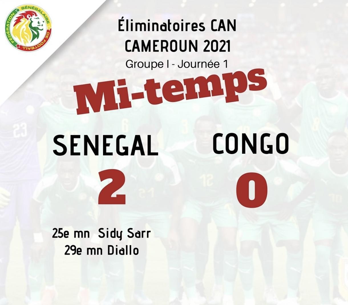 """Sénégal - Congo Brazzaville : Les """"Lions"""" mènent 2-0 à la pause, grâce à des buts de Sidy Sarr et de Habib Diallo"""