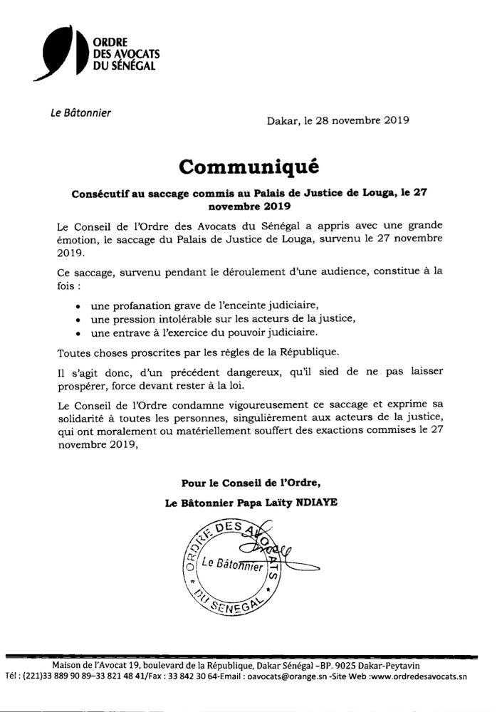 Indignation : Le Conseil de l'ordre des avocats dénonce le saccage du palais de justice de Louga