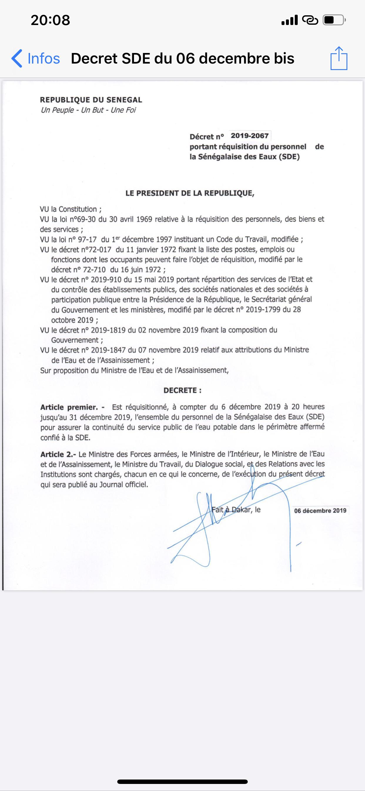 Urgent : Le président Macky Sall réquisitionne les agents de la SDE.