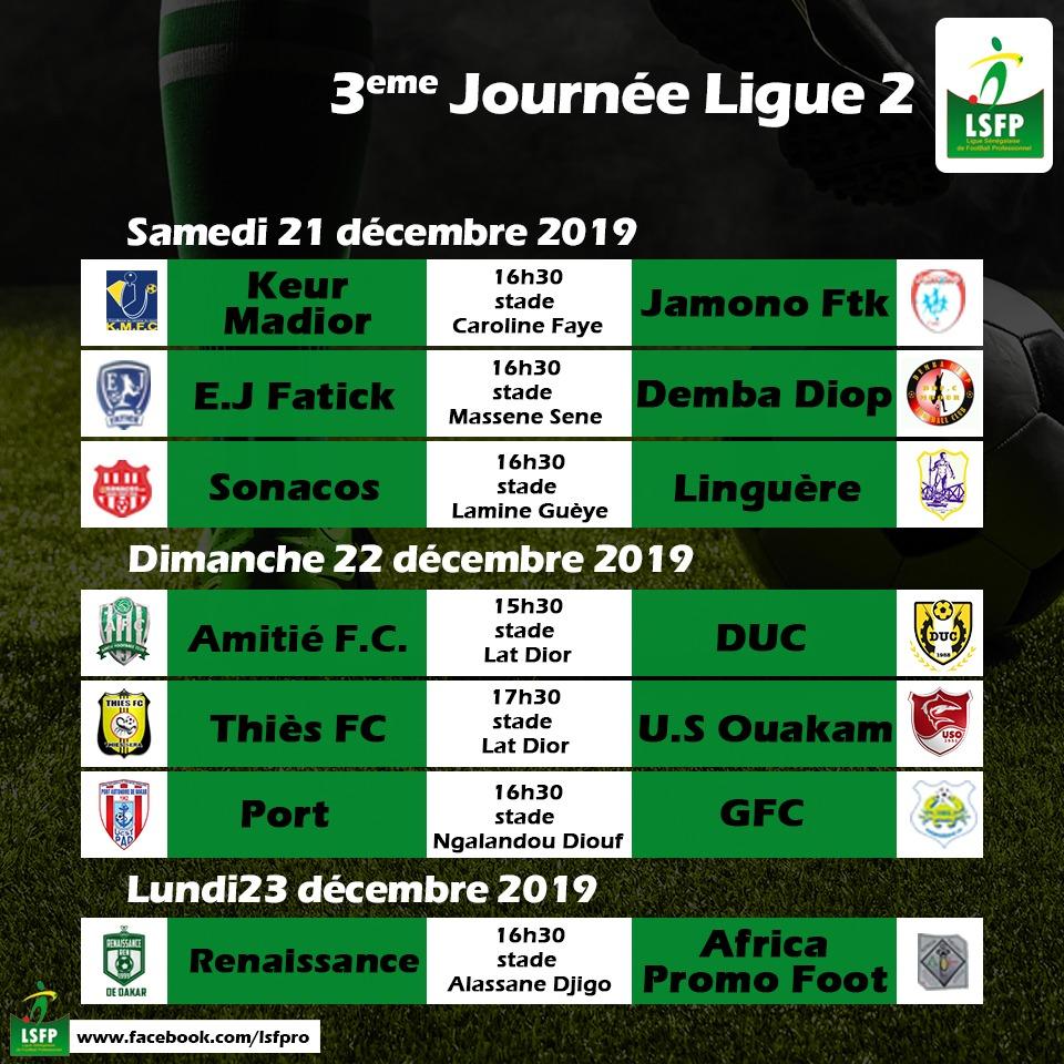 Ligue 2 / Affiches de la 3eme journée : Le premier, Keur Madior, reçoit l'avant dernier Jamono Fatick, le dauphin Us Ouakam, accueille son poursuivant Thiès FC…