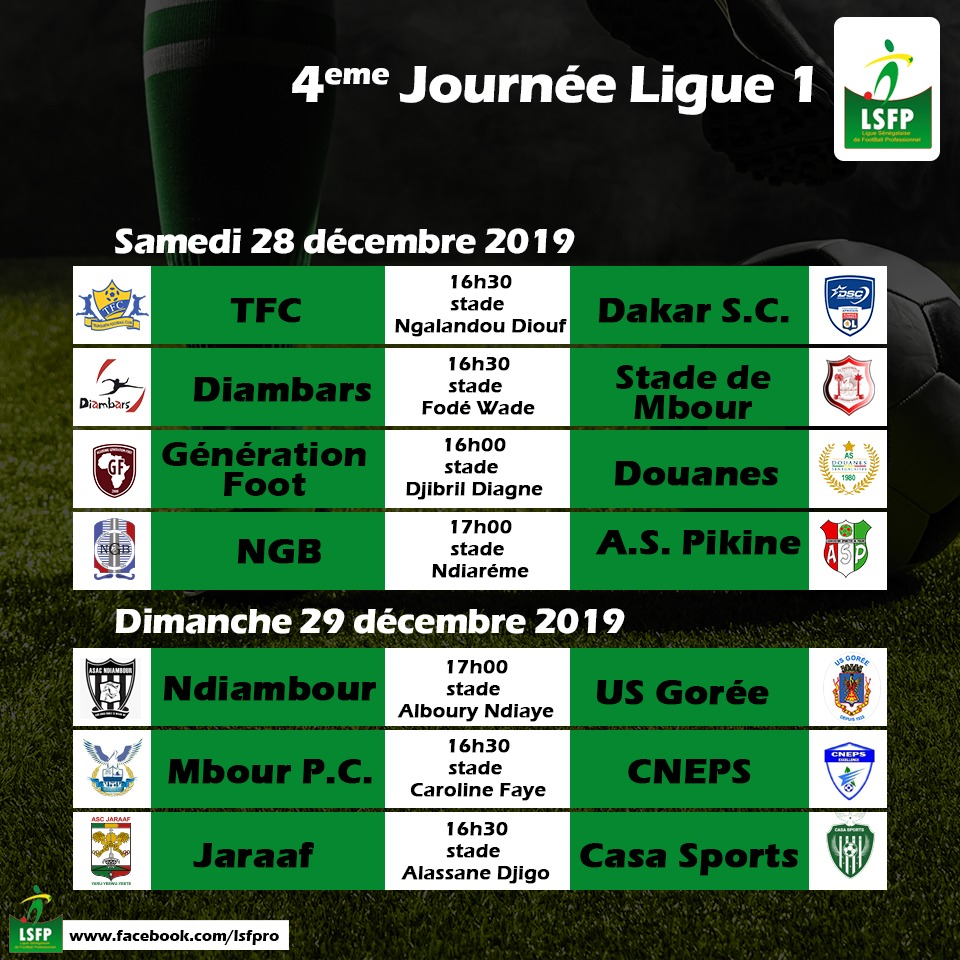 4ème journée Ligue 1 : Affiches explosives en haut de classement, la lanterne rouge en danger contre Diambars…