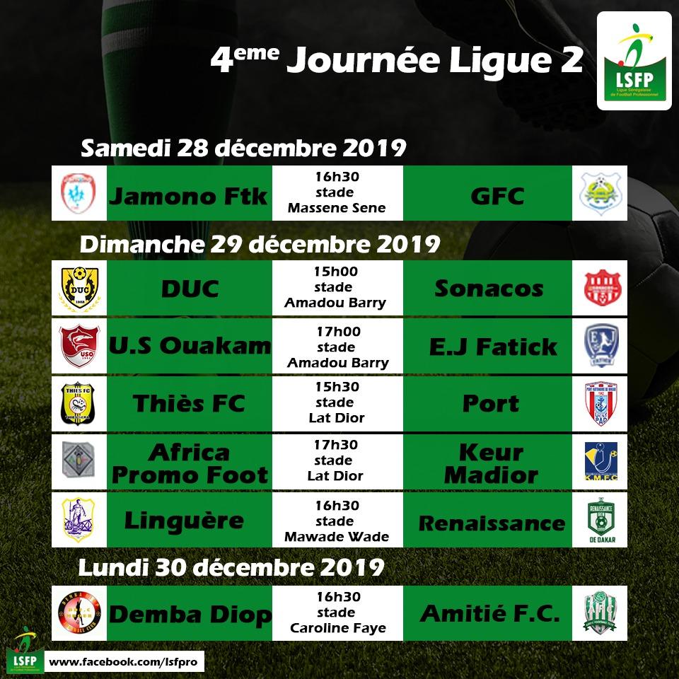 Programme 4ème Journée Ligue 2 : Le leader Renaissance devra confirmer à domicile, déplacements périlleux pour l'USO, Keur Madior et EJ Fatick…