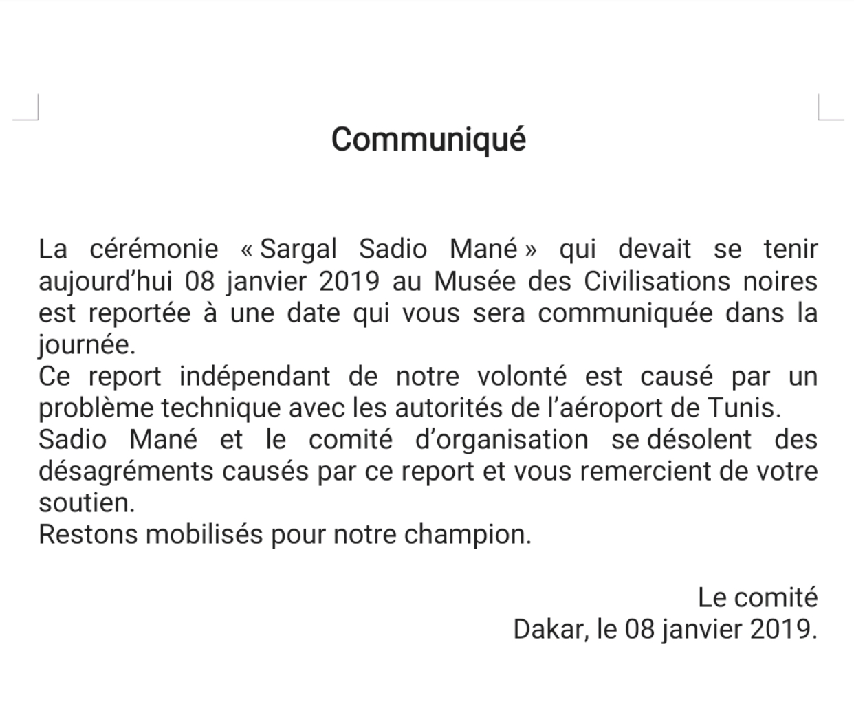 """Report du """"Sargal Sadio Mané"""" : Le comité d'organisation confirme et livre ses explications (Communiqué)"""