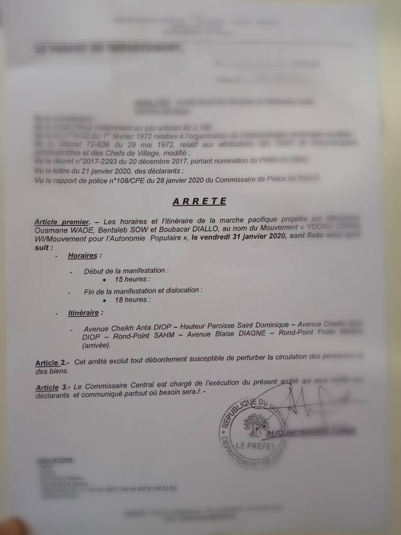 Manif du 31 Janvier 2020 : Le préfet autorise la marche de Nio Lank. (Document)