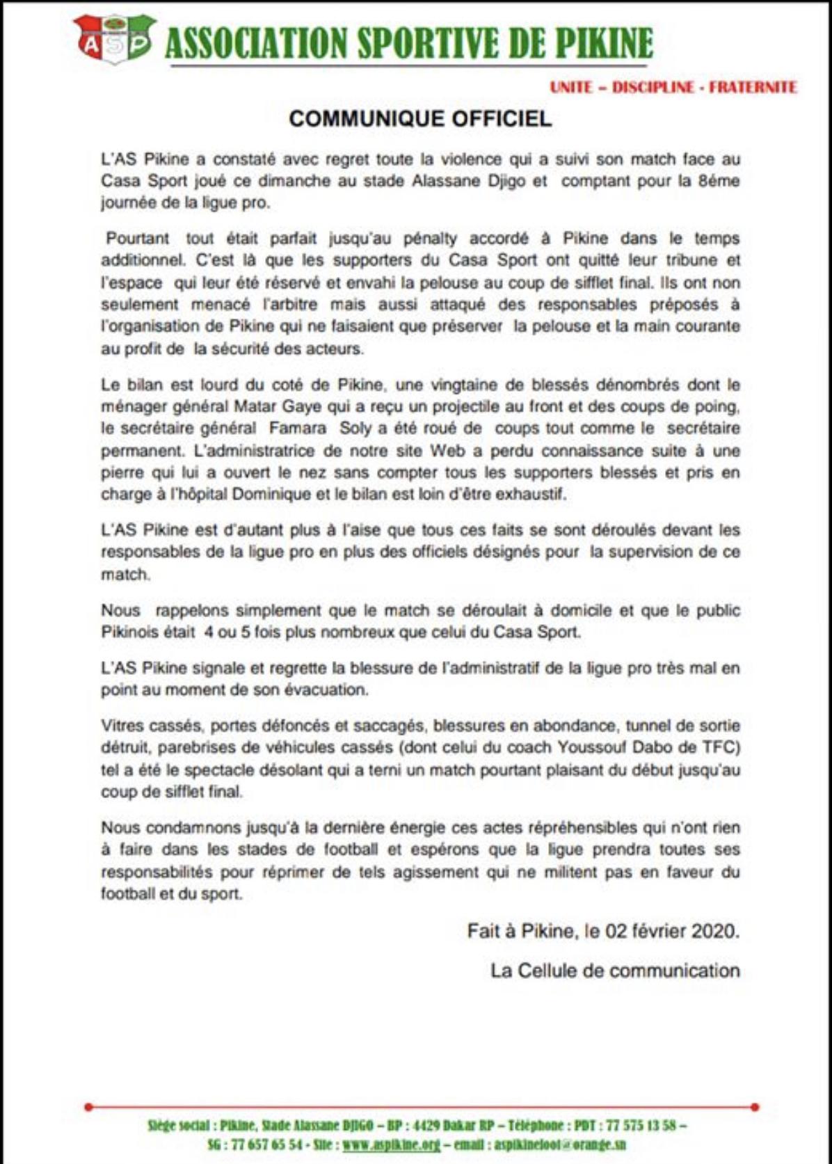 Échauffourées lors du match contre le Casa Sports : L'AS Pikine accuse les « Verts » d'actes de violence et de vandalisme.