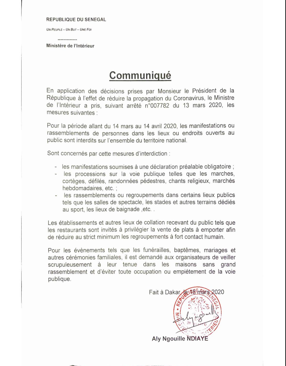 Interdiction de rassemblements : Aly Ngouille Ndiaye met en vigueur les mesures prises par le président Macky Sall (ARRÊTÉ)