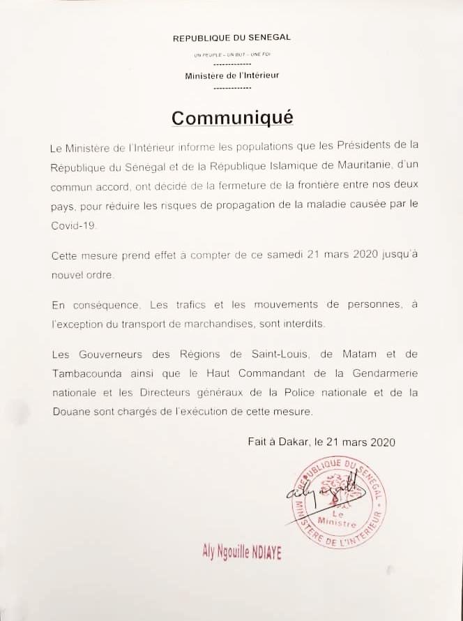 COVID-19 : Le Sénégal ferme ses frontières avec la Mauritanie. (DOCUMENT)