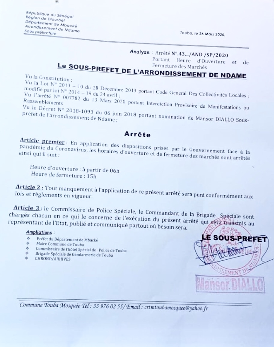 TOUBA / Les marchés ferment à 15 heures... Le sous-préfet met à contribution la police et la gendarmerie.