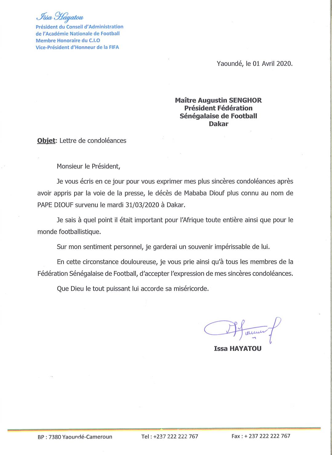 Disparition de Pape Diouf : L'ancien président de la CAF, Issa Hayatou a présenté ses condoléances à la FSF. (DOCUMENT)