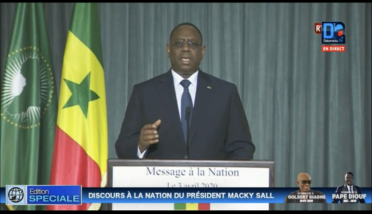 Message à la Nation / Président Macky Sall : «Respectons les mesures édictées par l'état d'urgence»