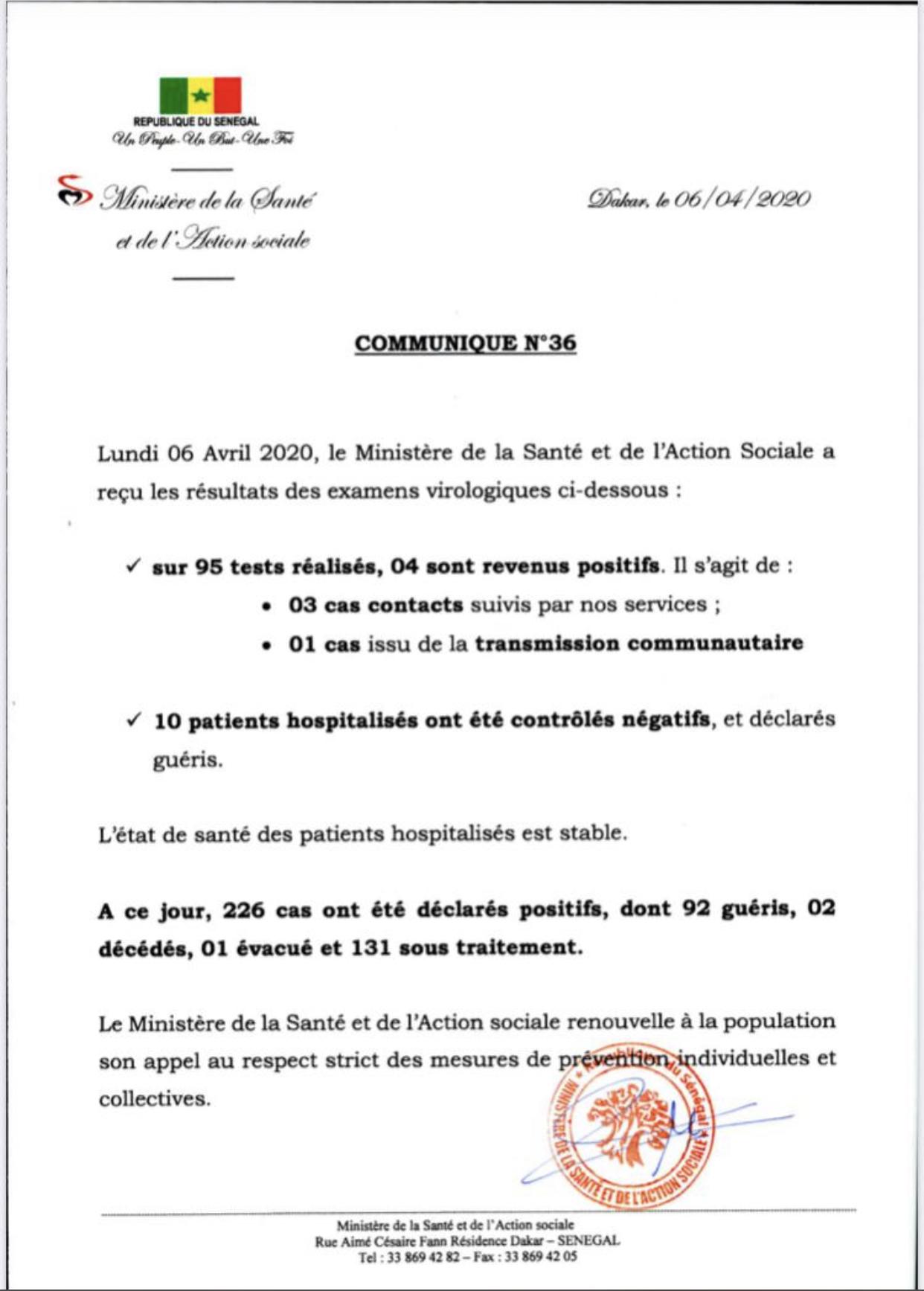 Institut Pasteur : 4 nouveaux cas, 10 nouveaux guéris.
