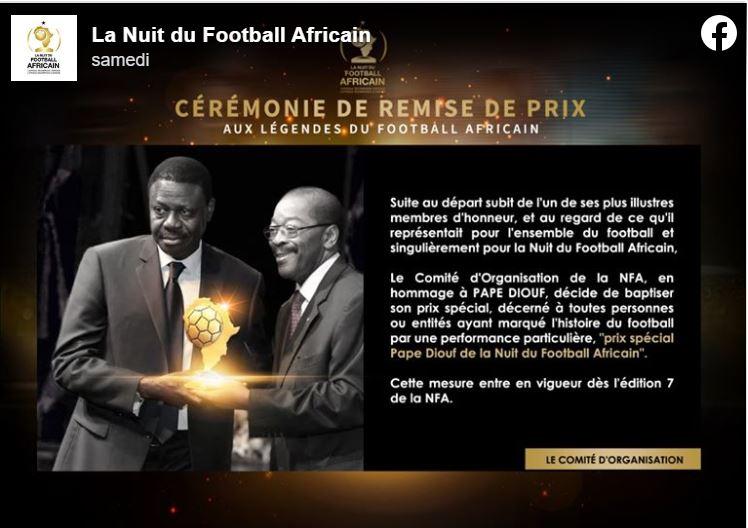 NAF: un trophée créé en l'honneur de Pape Diouf