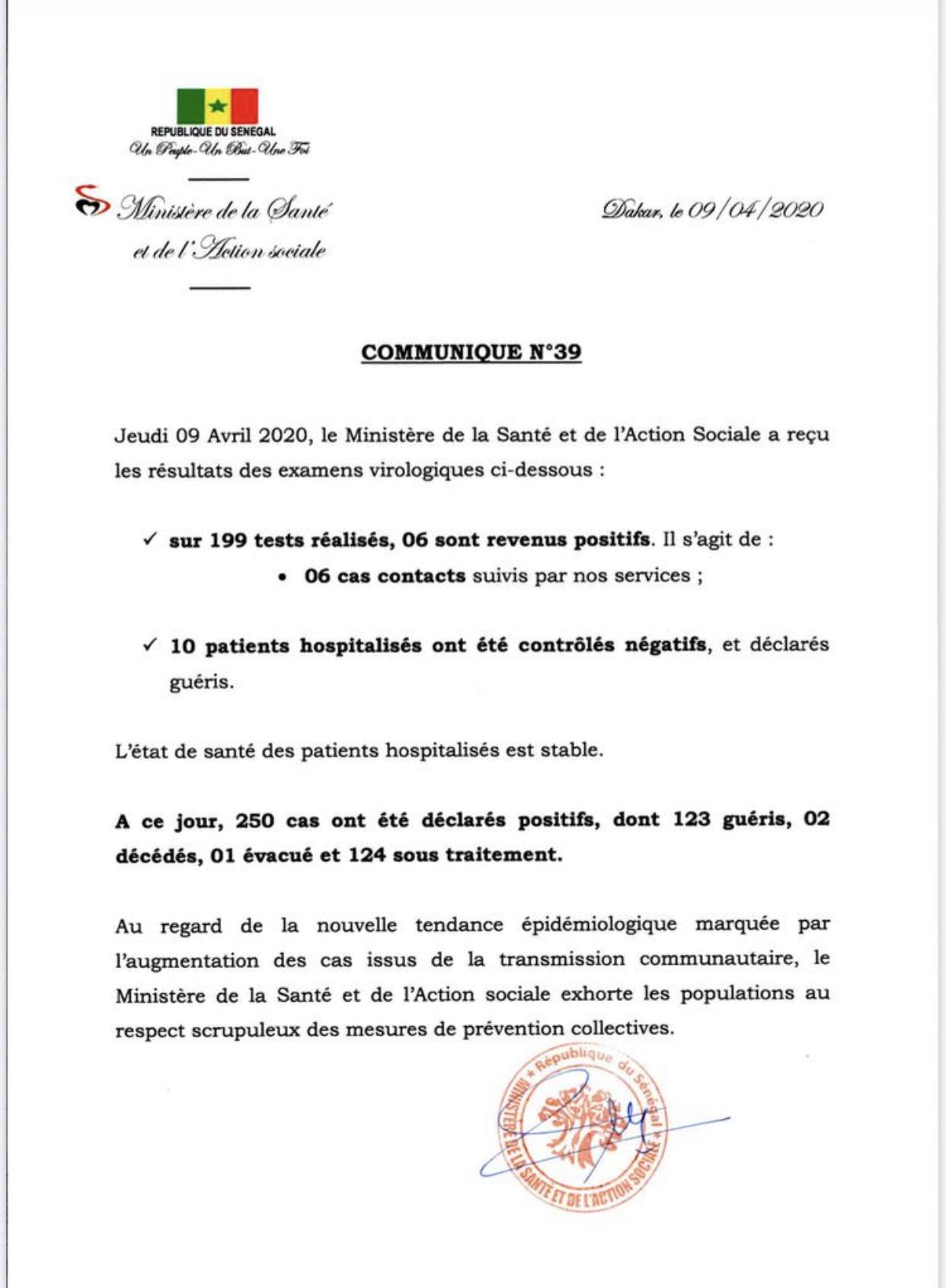 Institut Pasteur : 6 nouveaux cas testés positifs au coronavirus, 10 nouveaux guéris.